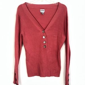 Chico's Women's Button Up V-neck Sweater 32K